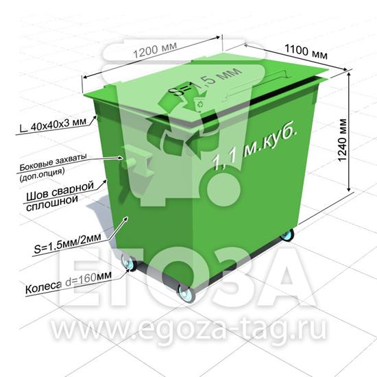 """Изображение Контейнер для мусора """"Евро"""" 1,1 м.куб."""