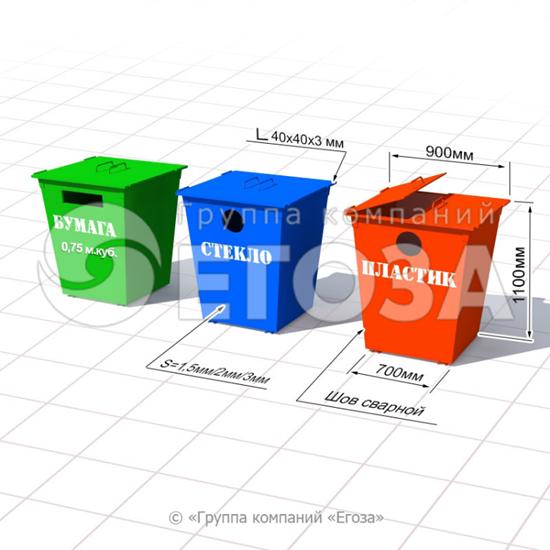 Изображение Комплект для раздельного сбора мусора по 0,75 м.куб.