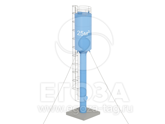 Изображение Водонапорная башня Рожновского 25 м3 2400х960х14000 по ТУ 4х4