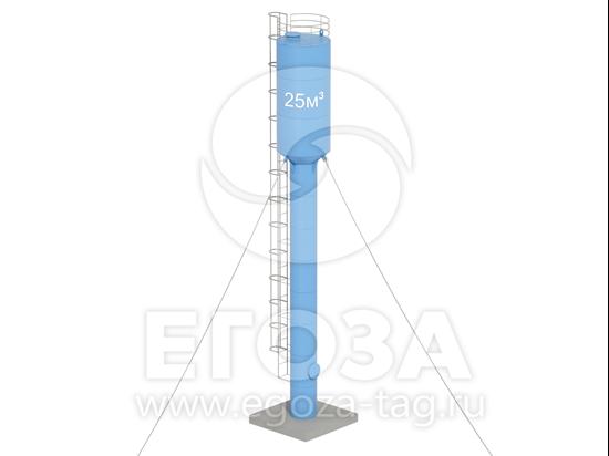 Изображение Водонапорная башня Рожновского 25 м3 2400х1200х17000 по ТУ 4х4